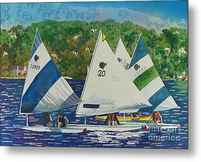 Bass Lake Races  Metal Print by LeAnne Sowa