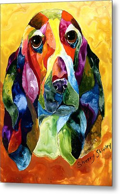 Basset Hound Blues Metal Print
