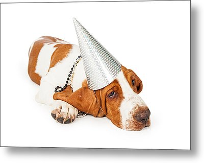 Basset Hound Dog Wearing Silver Party Hat Metal Print