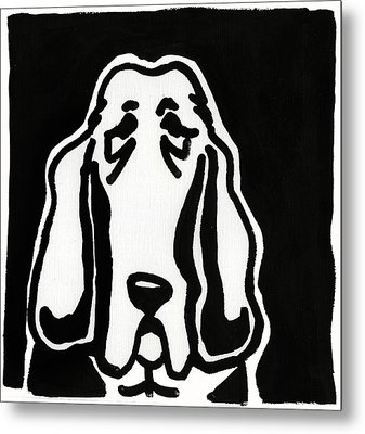 Metal Print featuring the drawing Basset Hound Ink Sketch by Leanne WILKES