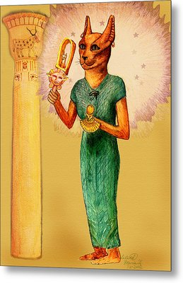 Bast Egyptian Cat Goddess Metal Print by Lilith Marie Haas