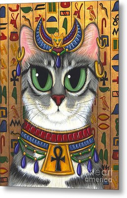 Metal Print featuring the painting Bast Goddess - Egyptian Bastet by Carrie Hawks