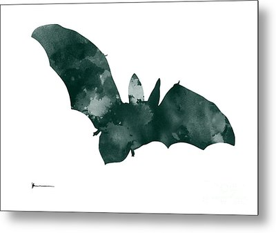 Bat Minimalist Watercolor Painting For Sale Metal Print by Joanna Szmerdt