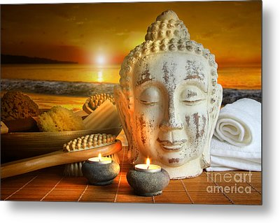 Bath Accessories With Buddha Statue At Sunset Metal Print by Sandra Cunningham