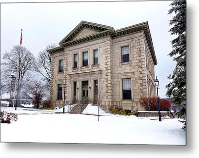 Bath Custom House In Winter Metal Print