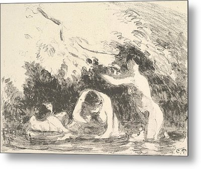 Bathers In The Shade Of Wooded Banks Metal Print by Camille Pissarro