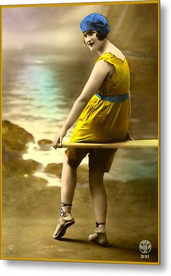 Bathing Beauty In Yellow  Bathing Suit Metal Print by Denise Beverly