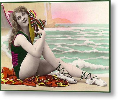 Bathing Beauty On The Shore Bathing Suit Metal Print