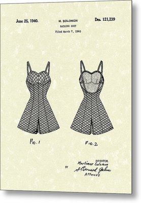 Bathing Suit 1940 Patent Art Metal Print by Prior Art Design