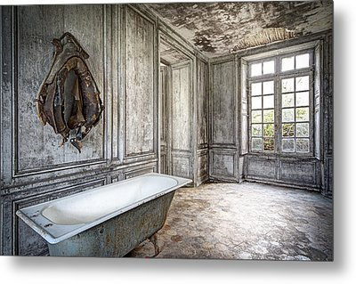 Bathroom In Decay - Abandoned Building Metal Print