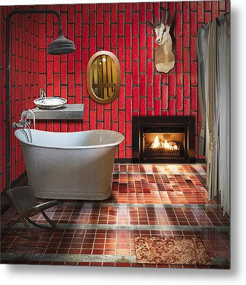Bathroom Retro Style Metal Print