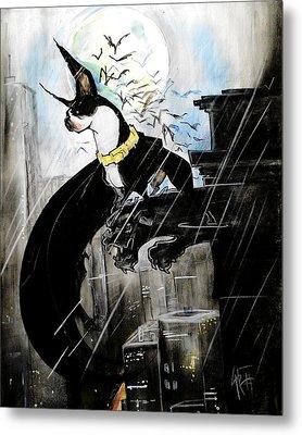 Batman Boston Terrier Caricature Art Print Metal Print