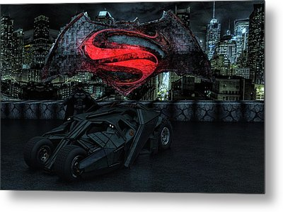 Metal Print featuring the photograph Batman Versus Superman by Louis Ferreira