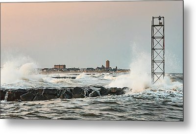 Battering The Shark River Inlet Metal Print by Gary Slawsky