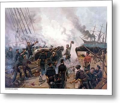 Battle Between Kearsarge And Alabama Metal Print by War Is Hell Store