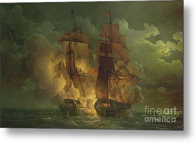 Battle Between The Arethuse And The Amelia Metal Print by Louis Philippe Crepin