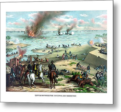 Battle Between The Monitor And Merrimac Metal Print by War Is Hell Store