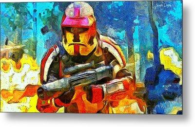 Battle In The Forest - Pa Metal Print by Leonardo Digenio