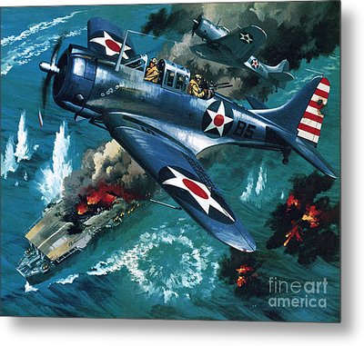 Battle Of Midway Metal Print by Wilf Hardy