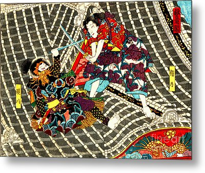 Battle On Horyu Tower 1850 Metal Print by Padre Art