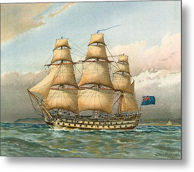 Battle Ship Metal Print by William Frederick Mitchell