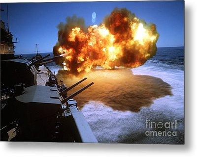 Battleship Uss Missouri Fires One Metal Print by Stocktrek Images