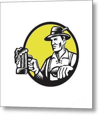 Bavarian Beer Drinker Mug Circle Woodcut Metal Print by Aloysius Patrimonio