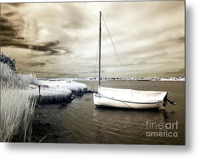 Bay Boat Brown Infrared Metal Print by John Rizzuto