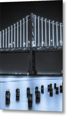 Bay Bridge 2 In Blue Metal Print