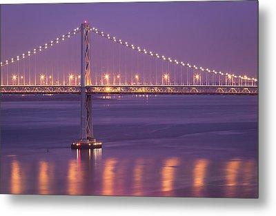 Bay Bridge At Dusk Metal Print by Sean Duan