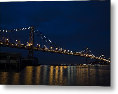 Bay Bridge At Night Metal Print by John Daly