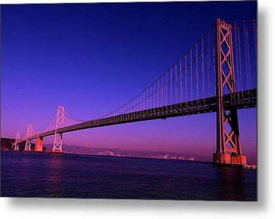 Bay Bridge Sunset Metal Print by Linda Edgecomb