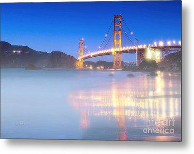 Bay Bridge With Ground Fog Metal Print