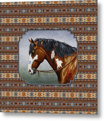 Bay Native American War Horse Southwest Metal Print by Crista Forest