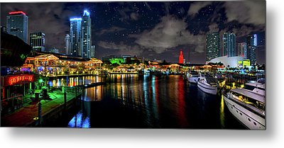 Bayside Miami Florida At Night Under The Stars Metal Print