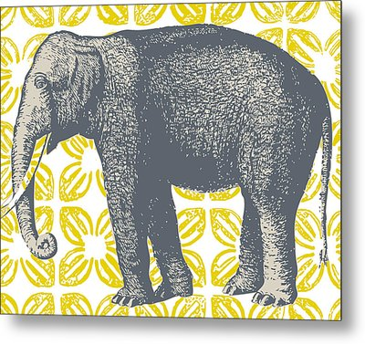 Bazaar Elephant Yellow Metal Print by Thomas Paul