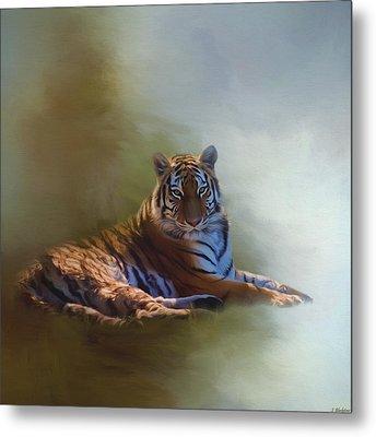 Be Calm In Your Heart - Tiger Art Metal Print by Jordan Blackstone