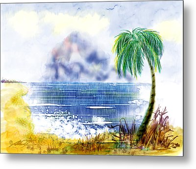 Beach And Palm Tree Of D.r.  Metal Print