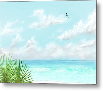 Metal Print featuring the digital art Beach And Palms by Darren Cannell