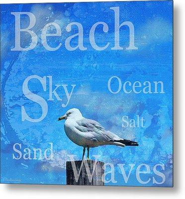 Beach Art Seagull By Sharon Cummings Metal Print by Sharon Cummings