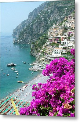 Beach At Positano Metal Print by Donna Corless