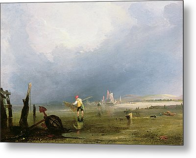 Beach At Shoreham Metal Print by Anthony Vandyke Copley Fielding