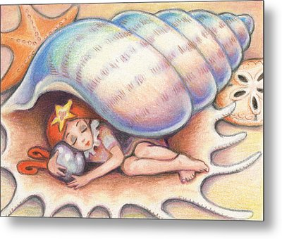 Beach Babys Treasure Metal Print by Amy S Turner