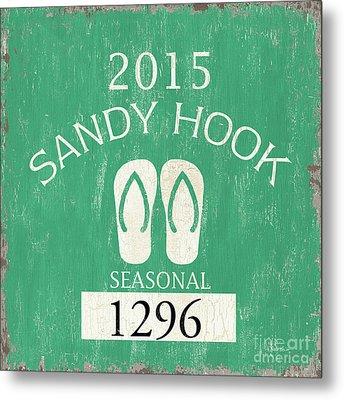 Beach Badge Sandy Hook Metal Print