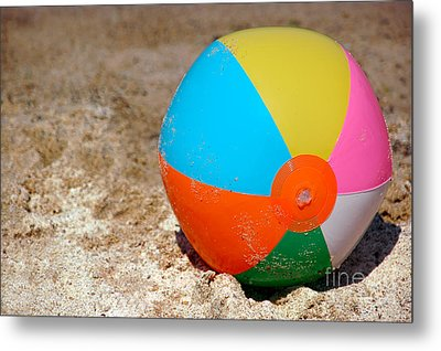 Beach Ball On Sand With Copy Space Metal Print