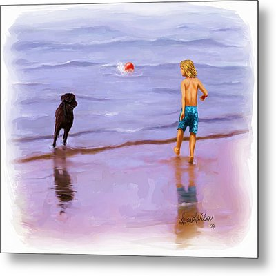 Metal Print featuring the painting Beach Ball Race by Sena Wilson