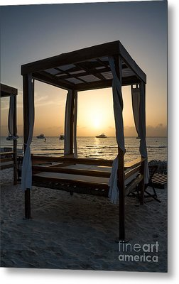 Beach Beds At Sunset - Isla Mujeres Metal Print