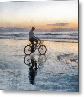 Beach Biker Metal Print by Francesa Miller