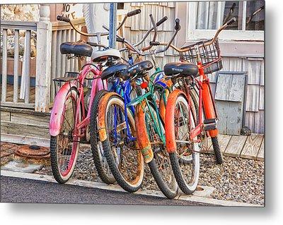 Beach Bikes Metal Print by Tom Singleton