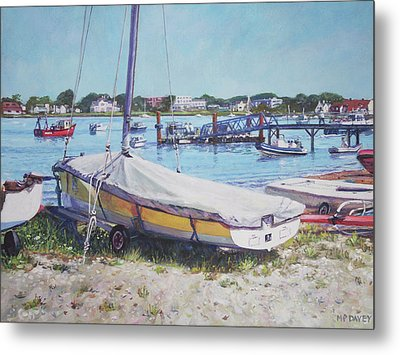 Metal Print featuring the painting Beach Boat Under Cover by Martin Davey